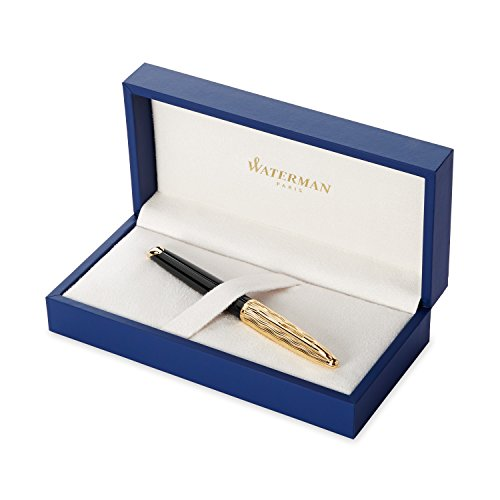 Waterman Carene Essential Black and Gold, Fountain Pen with Medium solid gold nib and blue ink (S0909770) -