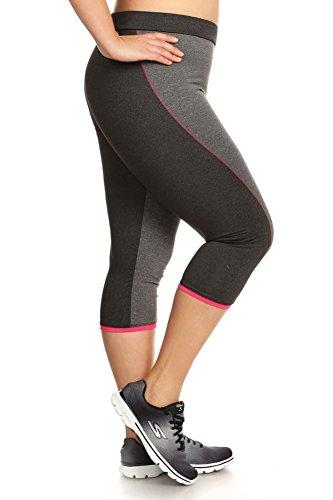 Shosho Womens Plus Size Activewear Leggings Sports Pants Capri Mesh Yoga Gym Bottoms Heather Grey/Heather Charcoal 3X