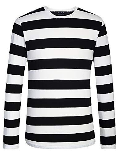 Black And White Striped Shirt Halloween Costume (SSLR Men's Cotton Crew Neck Casual Long Sleeves Stripe T-Shirt (Large, Black)