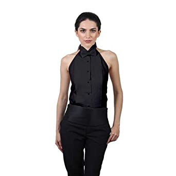 1566bdd6dc7cf ... Blouse with Collar Swallow Tail Shirt Source · SixStarUniforms Women s  Tuxedo Halter Shirt and Black Bow Tie Set at