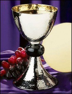 Silver Gild Catholic Christian Hammered Chalice Goblet Cup and Paten Church by Faithful Gifts by Faithful Gifts