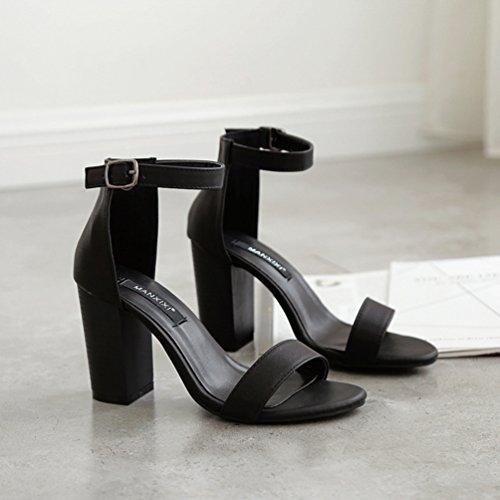 Inconnu Lanière Talons Cheville Escarpins Ouvert Noir Chaussure Hauts Bloc Élégant Bride Femmes Sandales wxFw6rq1C