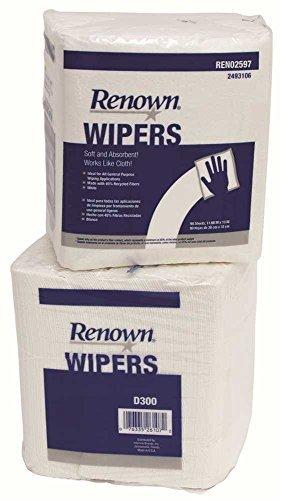 RENOWN GIDDS2-2493106 D300 1/4 Fold Light Duty General Purpose Wiper (90 Sheets Per Pack/12 Pack Per Case), White