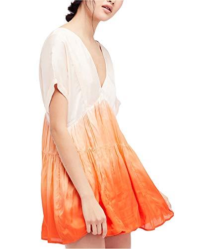 Free People Womens Sun up Peach Tie Dye Ombre Mini Dress Tunic 98 Size ()