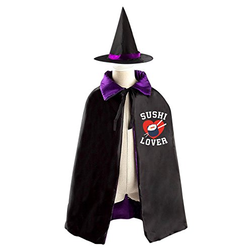 Sushi Costume For Kids (Halloween Costume Children Cloak Cape Wizard Hat Cosplay Sushi Lover For Kids Boys Girls)