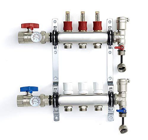 PEX Manifold Radiant Floor Heating Set 3 Loop System Stainless Steel Heated Hydronic Heating 1/2