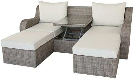 Major-Q Water Resistant Gray Outdoor Patio Sectional Sofa and 2 Convertible Side Table Ottomans Set Upholstered