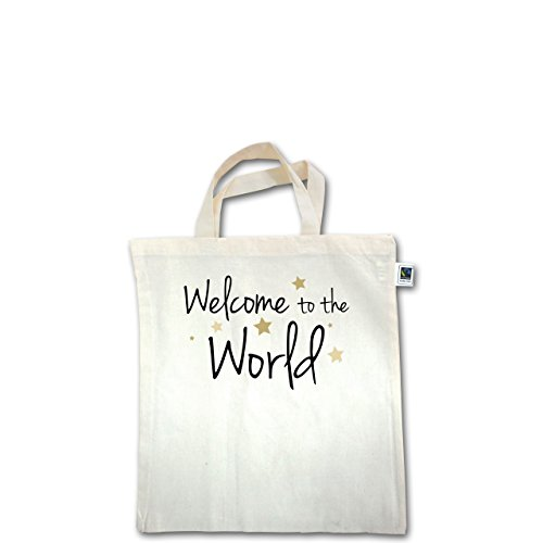 Zur Geburt - Welcome to the world - Unisize - Natural - XT500 - Fairtrade Henkeltasche / Jutebeutel mit kurzen Henkeln aus Bio-Baumwolle