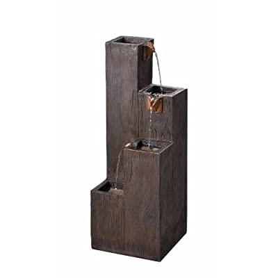 Kenroy Home 51017WDG Indoor/Outdoor Floor Fountain, 34 Inch Height, 12.25 Inch Width, 12.25 Inch Ext, Wood Grain - SCRATCH-RESISTANT RESIN: wood grain finished resin matches the textured surface paint and helps to resist fading and potential chipping over time DIMENSIONS: 34-inch Height, 12-inch width, 12-inch Extension PUMP PERFORMANCE: Our pumps feature industry-leading motors and components, tuned for optimal performance - patio, outdoor-decor, fountains - 41sXGVzqaAL. SS400  -