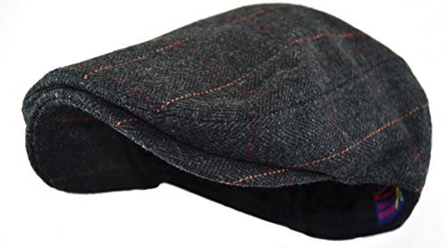 (Wonderful Fashion Men's Classic Herringbone Tweed Wool Blend Newsboy Ivy Hat (Large/X-Large, Black)