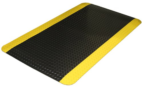 Durable Corporation Vinyl Heavy Duty Diamond-Dek Sponge Anti-Fatigue Mat, 24' Width x 36' Length x 0.875' Thickness, Black with Yellow Border