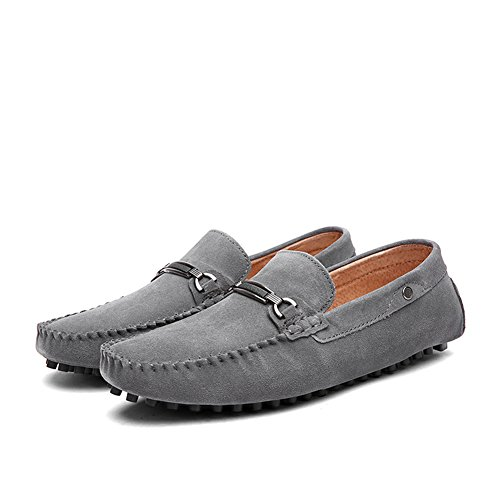 Gå Tur Äkta Mens Läder Slip-on Loafers Kör Skor Grå