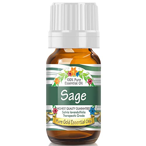 Sage Essential Oil (100% Pure, Natural, UNDILUTED) 10ml - Best Therapeutic Grade - Perfect for Your Aromatherapy Diffuser, Relaxation, More!