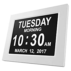 Hippodoctor 8 Languages Dementia Clock HD 1024×768 3 alarms 2 Auto-Dim Options Digital Calendar Day Clock for Vision Impaired Elderly Memory Loss (White)