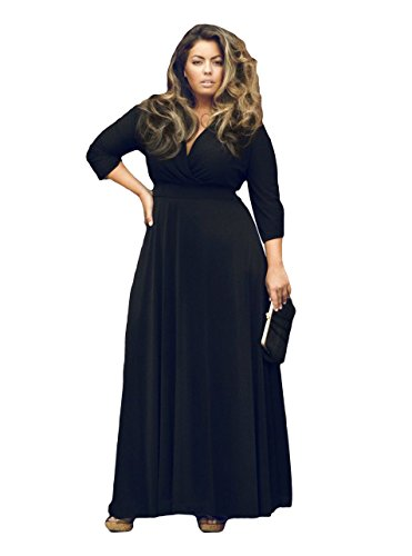 [Tankoo Women's Elegant V Neck Shirred Retro Vintage Prom Dress 7 Colors Black 2XL] (Plus Size Maxi Dresses)