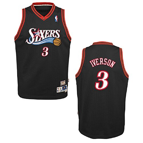 Philadelphia 76ers Allen Iverson Youth Black Swingman Stitched Jersey (Youth M) (Stitched Jersey Swingman)