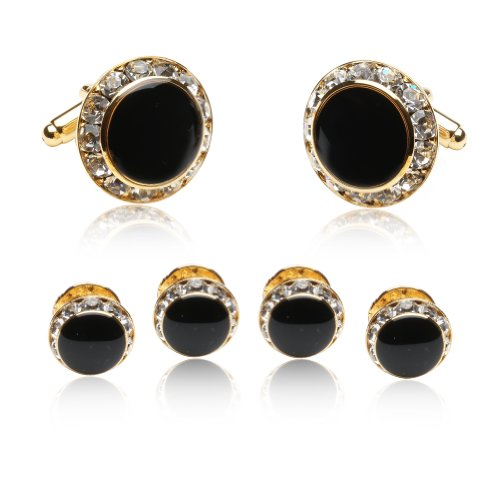 Black Enamel and CZ Gold Tuxedo Formal Set Cufflinks and Studs with Gift Box Double Happiness Gold Cufflinks