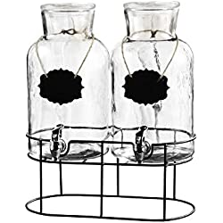 Style Setter Sierra Chalkboard Glass Dispensers with Stand (Set of 2), Clear, 1.2 Gallons Each