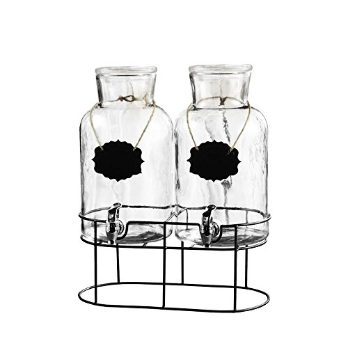 Style Setter Sierra Chalkboard 210439-SGB 1.2 Gallon Each Set of 2 Glass Dispensers with Metal Stand, 15x7.5x16.5