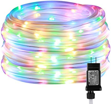 LE LED Rope Light with Timer, Multi Colored, 8 Mode, Low Voltage, Waterproof, 33ft 100 LED Indoor Outdoor Plug in Light Rope and String for Deck, Patio, Bedroom, Pool, Boat,Landscape Lighting and More