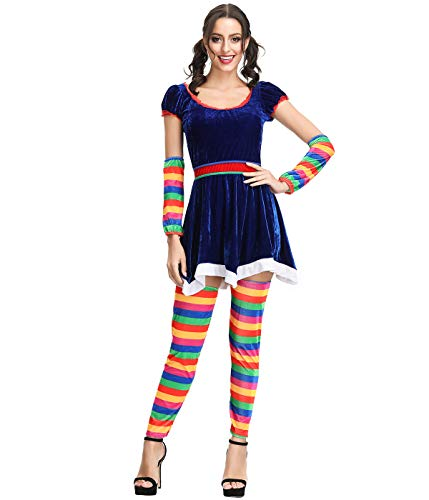 Ladies Rainbow Brite Hero 80s Fancy Dress Up Party Halloween Costume Outfit]()