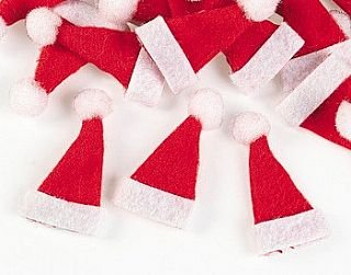 (24 Mini Santa Hats for Christmas Crafts | Christmas Card Making Papercrafts)