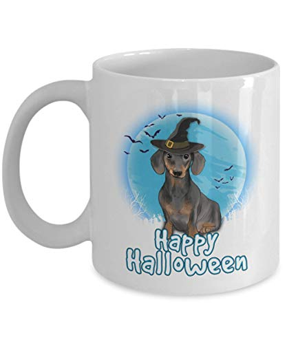 Happy Halloween Dachshund - 11 OZ white Mugs for Major Tea, Coffee - Great Gift For Dachshund Dog Lover - Perfect Gift for Birthday - By Kiwi Styles ()