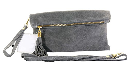 Pli main cuir daim italien fait embrayage, poignet ou sac à bandoulière.Comprend un sac de rangement protecteur marque. Foncé Gris