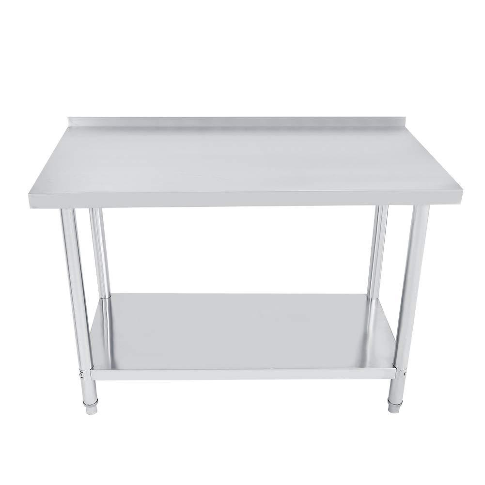 Consola de acero inoxidable de doble capa, mesa de trabajo de acero, desmontable para cocina, fábrica (122 x 61 cm, con protección de cantos)