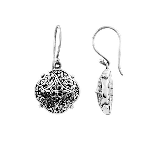 (Sterling Silver Designer Flower Shape Earring With Plain Silver AE-6009-S)