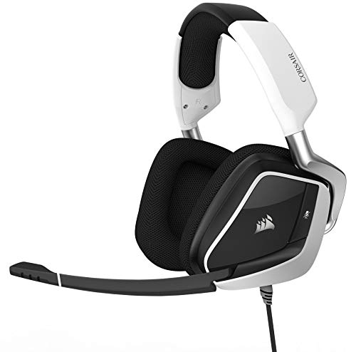 CORSAIR Void PRO RGB USB Gaming Headset - Dolby 7.1 Surround Sound Headphones for PC - Discord - 50mm Drivers - White (Renewed)