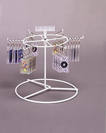 """New 6 Peg Hook Counter Rack Spinner Display, White Wire. 10"""" x 11"""" Inches"""