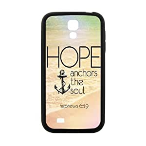 Vintage Retro Anchor Samsung Galaxy S4 I9500 Case Cover TPU Laser Technology Hope Ahchors The Soul Hebrews ipod touch4:19 Quotes Water