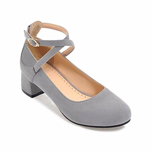 Zapatos de Tacón/Zapatos de Mujer de Gran Tamaño, el Talón y el Talón, Hebilla de Gamuza, Zapatos de Mujer Gray