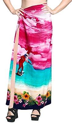LA LEELA Christmas Beachwear Coverup Sarong Swimwear Dress Skirt Women Bathing Wrap Pareo