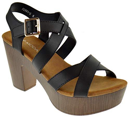 (Top Moda Ferry 3 Womens Chunky Heel Strappy Slingback Open Toe Faux Wood Platform Dress Sandals Black 6.5)