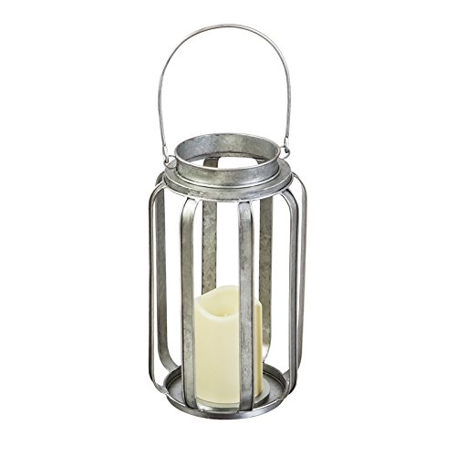 Evergreen Galvanized Battery Powered Lantern with LED Candle, 10.6 Inch Height by Evergreen Garden