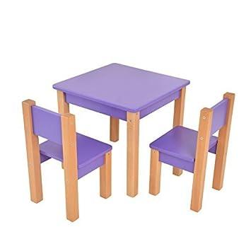 Kindertisch Mit Stuhle 3 Tlg Set Sitzgruppe Fur Kinder Lila