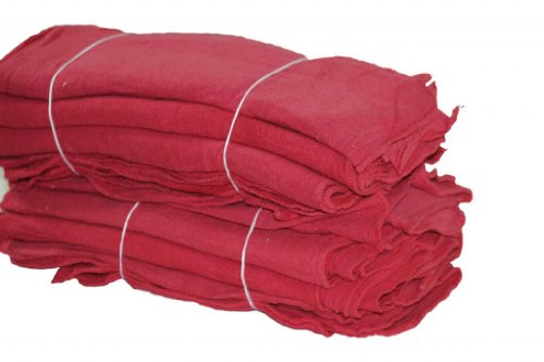 ATLAS Brand 1000 Pieces RED Cotton Shop Towel Rags LIGHT - GRADE ''B'' by Atlas