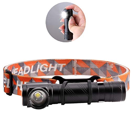 (3000LM Outdoor Camping Work Flashlight, 4 Mode USB Charging Headlight LED T6 Right Angle Telescopic Zoom Magnetic Headlamp TorchWork Multifunctional Travel Emergency Light Head Torch)