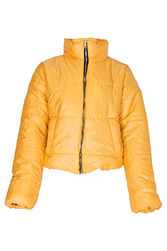 Noroze Womens Crop Jacket Padded Puffer Coat Cropped (Mustard, 8)