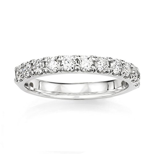 14KT White Gold 1/2ct G-I VS1/VS2 Shared Prong Machine Set Wedding Ring by Uncle Sam's Collection