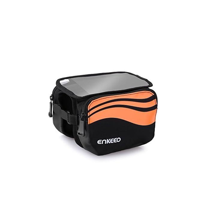 Enkeeo – Bolsa frontal 2-lados alforja delantera bolsa de manillar (Agua resistente, pantalla transparente táctil, sellado de cremallera, 2 correas ajustables, para bicicleta) Negro
