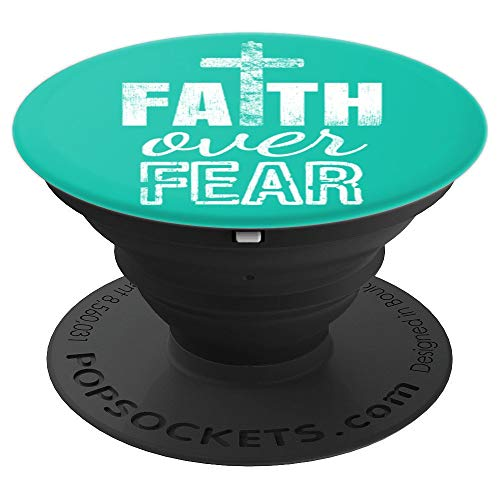 Faith Over Fear Cross Crucifix Teal Green Gift - PopSockets Grip and Stand for Phones and Tablets