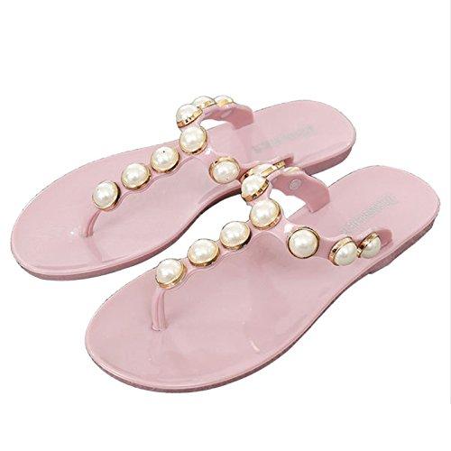 Perlas sintéticas Purpurina Mujer Bohemio Playa Albaricoque JAGENIE para 37 Sandalias de Rosa Estilo Tz84q0R4