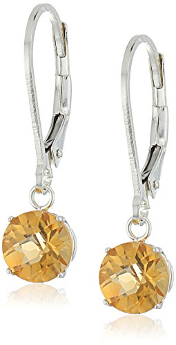 Sterling Silver Round Checkerboard Cut Citrine Leverback Earrings - Citrine Checkerboard Earrings