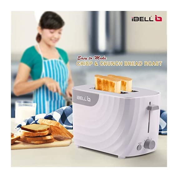 iBELL WG70 700-Watt Premium Pop-up Bread Toaster with Crumb Tray, Mid Cycle Heating Element (White) 4