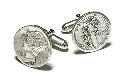 Mercury Dime Cufflinks Sterling Silver Fittings. Made in the USA (Silver Mercury Sterling Dime)