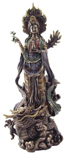 KUAN-YIN RIDING DRAGON Real Bronze Powder Cast Statue, 14-inch