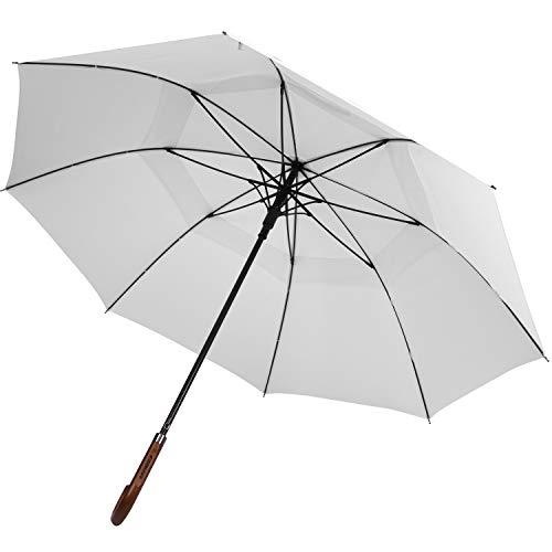 (ZEKAR Wooden J-Handle Umbrella, 60 inch, UV & Classic Versions, Large Windproof Stick Umbrella, Auto Open for Men and Women (White, 60